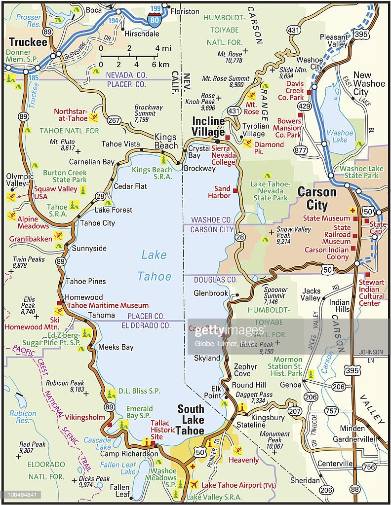 lake tahoe area map Lake Tahoe Area Map High Res Vector Graphic Getty Images lake tahoe area map