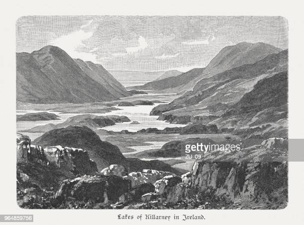 Lakes of Killarney in Ireland, wood engraving, published in 1897