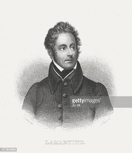 Lamartine (1790-1869), French poet, steel engraving, published in 1868