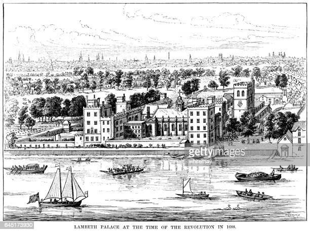 lambeth palace, london, in 1688 - 17th century stock illustrations, clip art, cartoons, & icons