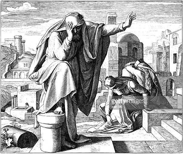 ilustraciones, imágenes clip art, dibujos animados e iconos de stock de lamentations de jeremiah - los siete pecados capitales
