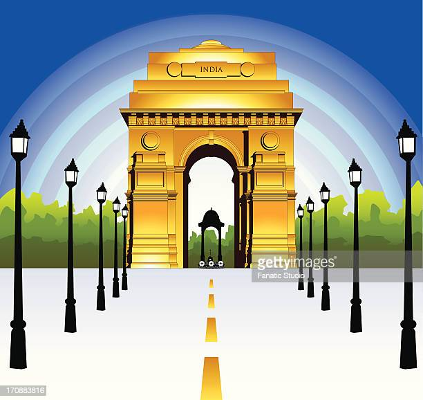 lampposts in front of a war memorial, india gate, new delhi, india - india gate stock illustrations