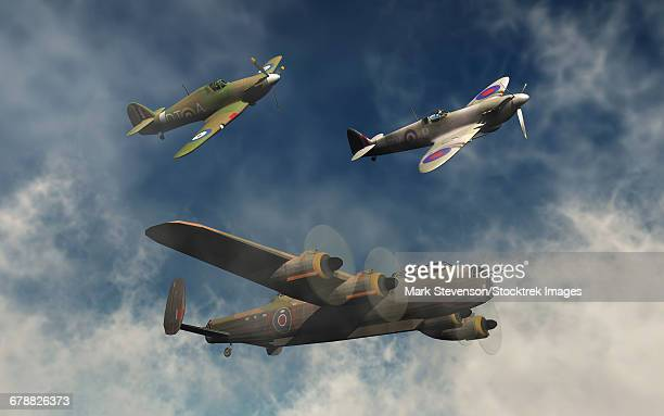 a lancaster bomber, a hawker hurricane and a spitfire fighter plane of the royal air force. - world war ii stock illustrations