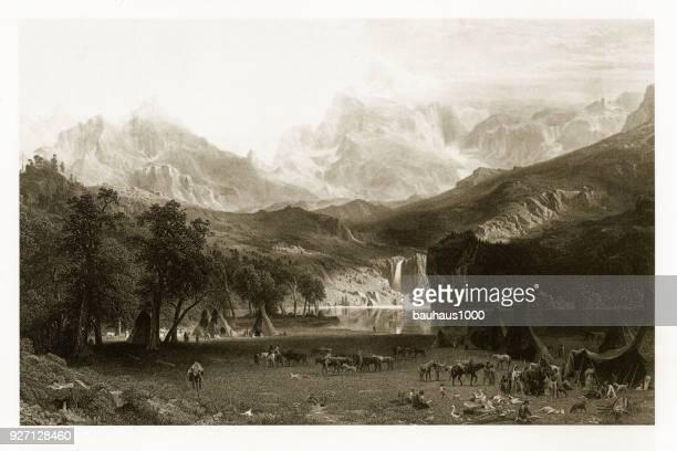 lander's peak in the colorado rocky mountains victorian engraving - savannah stock illustrations, clip art, cartoons, & icons