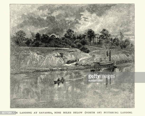 landing at savanna, pittsburg landing, tennessee, 19th century - savannah georgia stock illustrations, clip art, cartoons, & icons