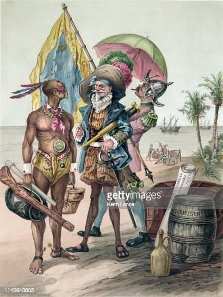 ilustraciones, imágenes clip art, dibujos animados e iconos de stock de aterrizaje de cristóbal colón, 1492 - cristobal colon
