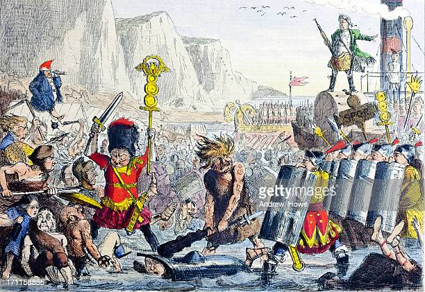 landing of julius caesar 19th century illustration - military invasion stock illustrations