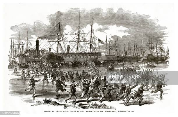 landing of united states troops at fort walker after the bombardment, november 7, 1861 civil war engraving - us navy stock illustrations, clip art, cartoons, & icons