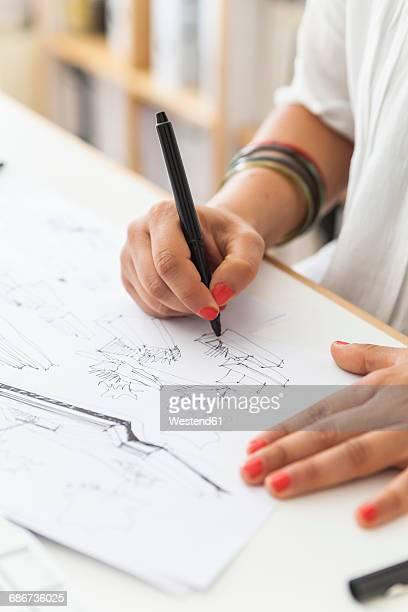 landscape architect drawing at desk, close-up - landscape gardener stock illustrations, clip art, cartoons, & icons