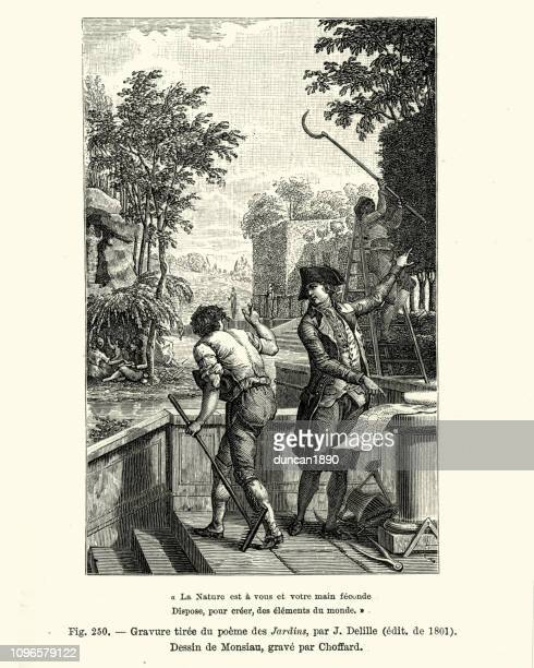 landscape architect working with gardeners, french, early 19th century - landscape gardener stock illustrations, clip art, cartoons, & icons