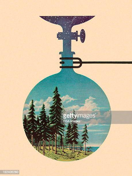 landscape beaker - pine wood material stock illustrations, clip art, cartoons, & icons