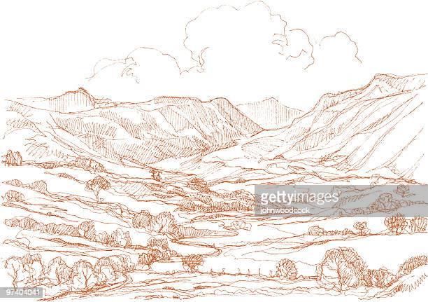 ilustraciones, imágenes clip art, dibujos animados e iconos de stock de paisaje con el dibujo. - valle
