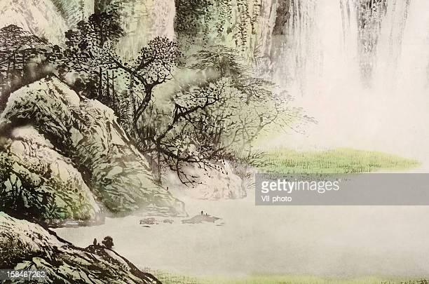 landscape - japanese language stock illustrations