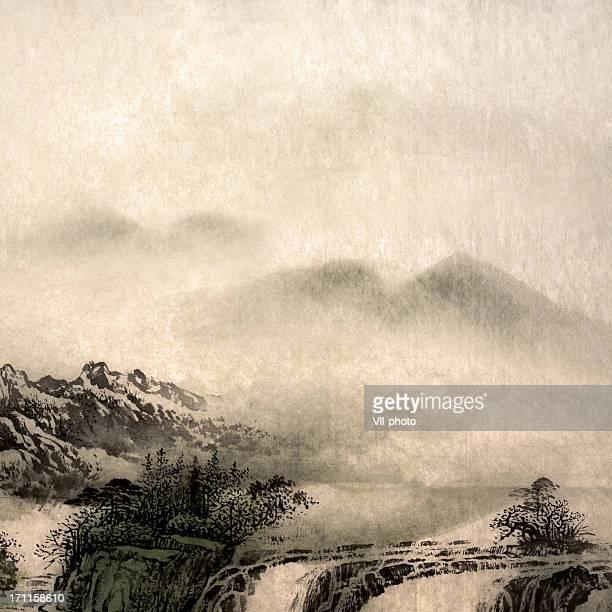 landscape - fog stock illustrations