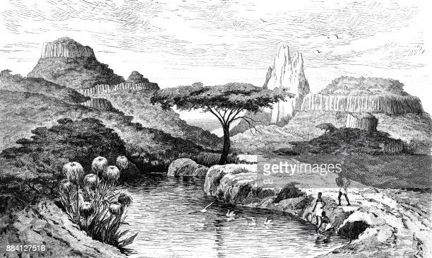 landscape in the highlands of abyssinia - ethiopia stock illustrations, clip art, cartoons, & icons