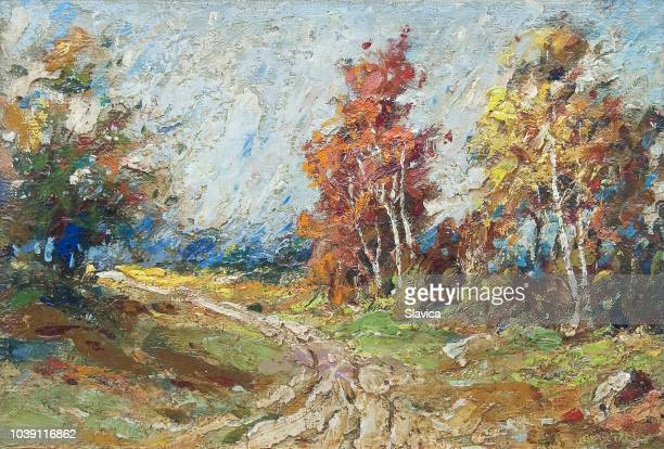 landscape painting - road through autumn forest - oil painting stock illustrations