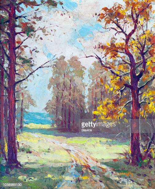 landscape painting - road through the forest - pasture stock illustrations