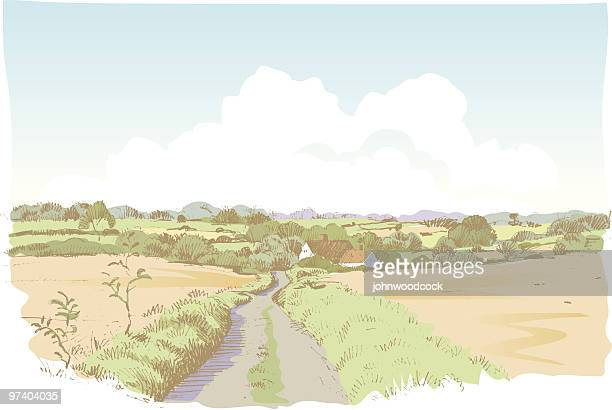 landscape sketch - country road stock illustrations