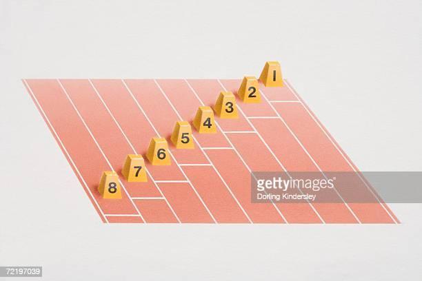 Lane number blocks arranged for 'staggered start' on racing track.