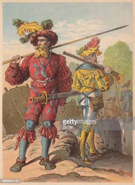 lansquenets (german: landsknechte) under maximilian i, c.1600, lithograph, published 1887 - circa 15th century stock illustrations, clip art, cartoons, & icons