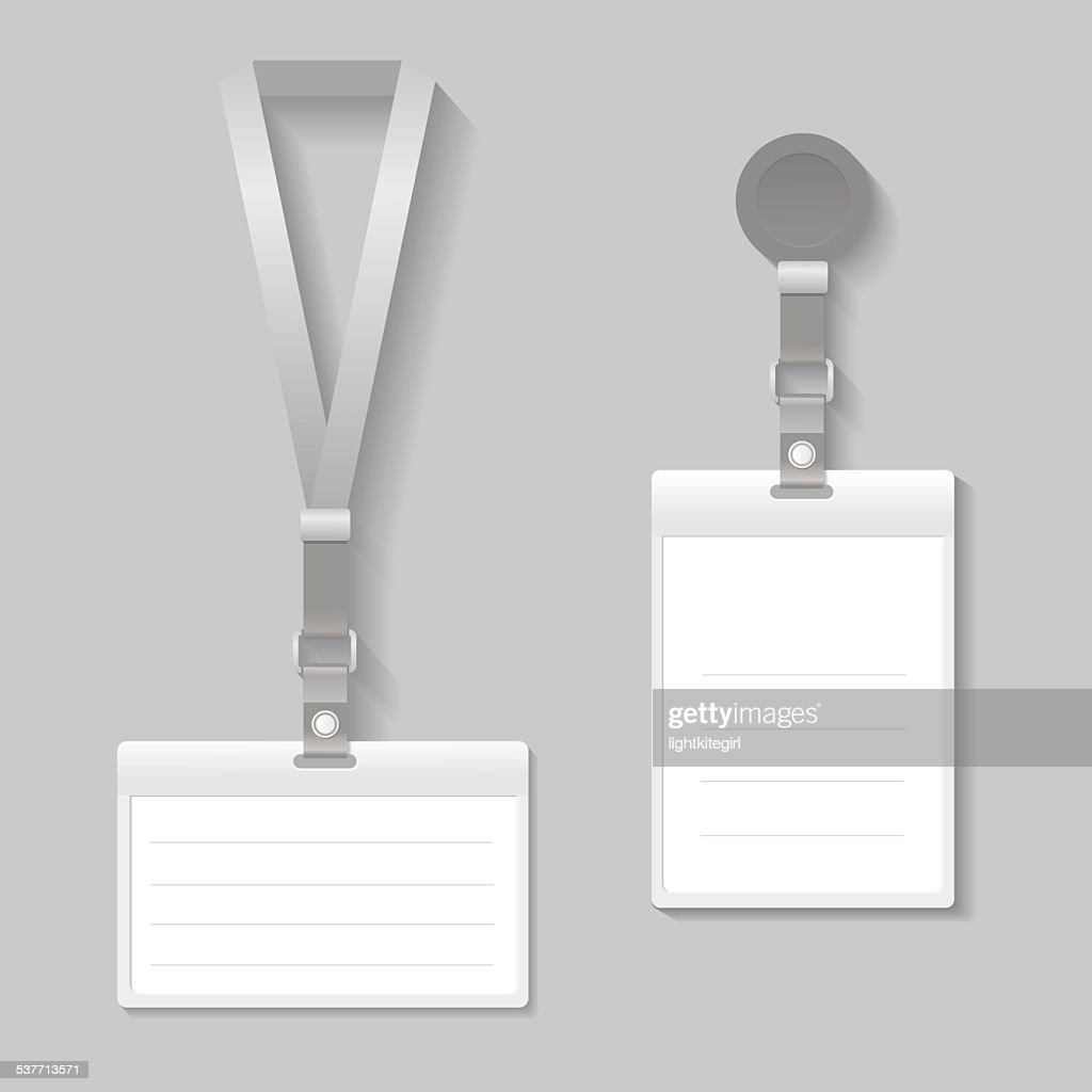 Lanyard Name Tag Holder End Badge Templates Stock Illustration ...