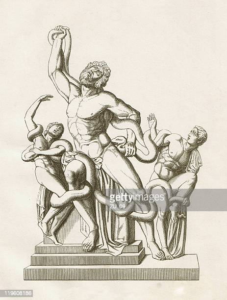 laocoön group, ancient sculpture, vatican, wood engraving, published in 1883 - anatomical model stock illustrations, clip art, cartoons, & icons