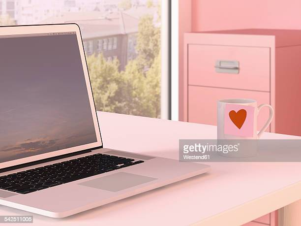 laptop and mug with adhesive note on desk at home office - female likeness stock illustrations