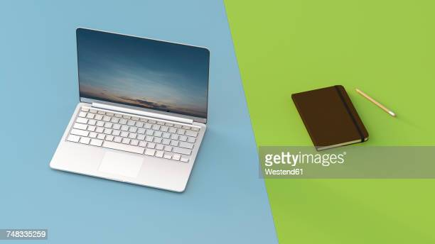 laptop next to notebook, 3d rendering - next stock illustrations