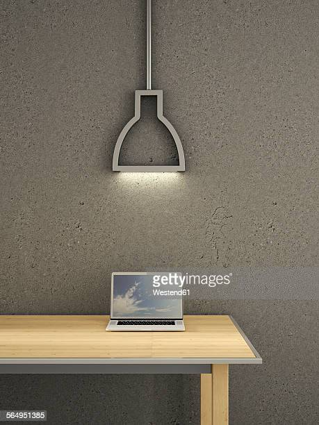 laptop on table under lamp, 3d rendering - office stock illustrations