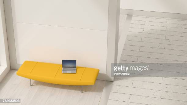 Laptop on yellow lounger, 3D Rendering