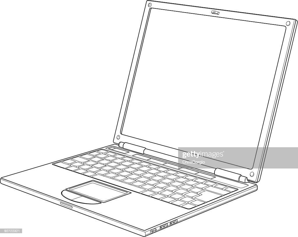 Laptop outline vector illustration