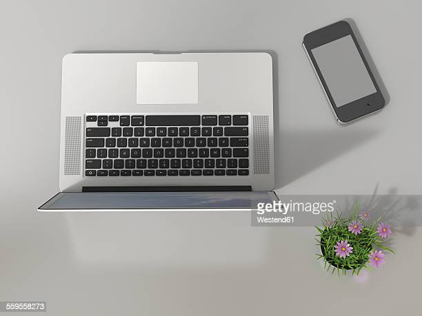 laptop, smartphone and flowerpot on tabletop, 3d rendering - gardening equipment stock illustrations
