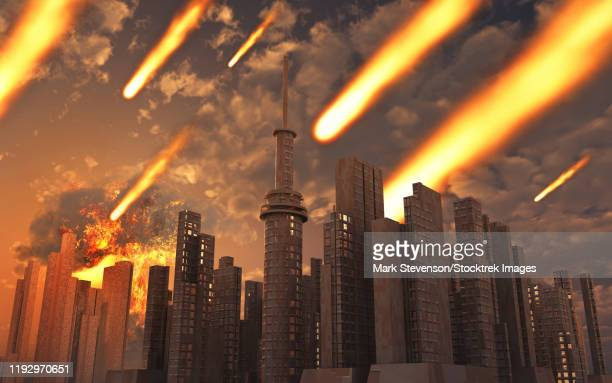 a large asteroid and its debris falling on a futuristic city. - dramatic sky stock illustrations
