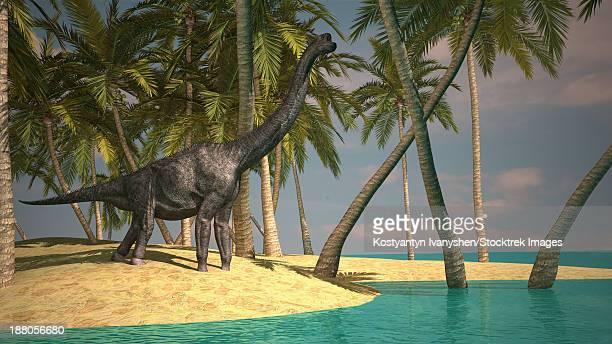 Large Brachiosaurus grazing at the water's edge.