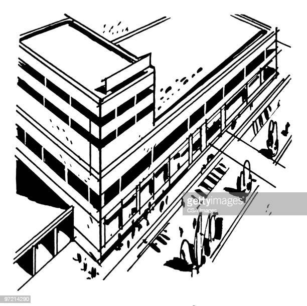 large building - consumerism stock illustrations