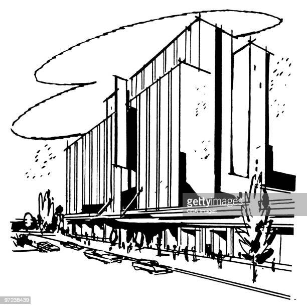 large building - facade stock illustrations