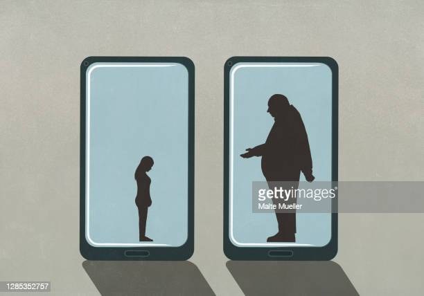 large businessman and small woman on smart phone screens - small stock illustrations