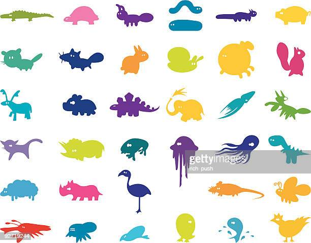 large collection of stylised animals - thyreophora stock illustrations, clip art, cartoons, & icons