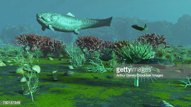 A large Dunkelosteus and other armored fish in an aquatic Devonian scene.