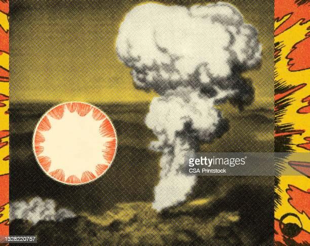 illustrazioni stock, clip art, cartoni animati e icone di tendenza di grande esplosione - bomba nuclear