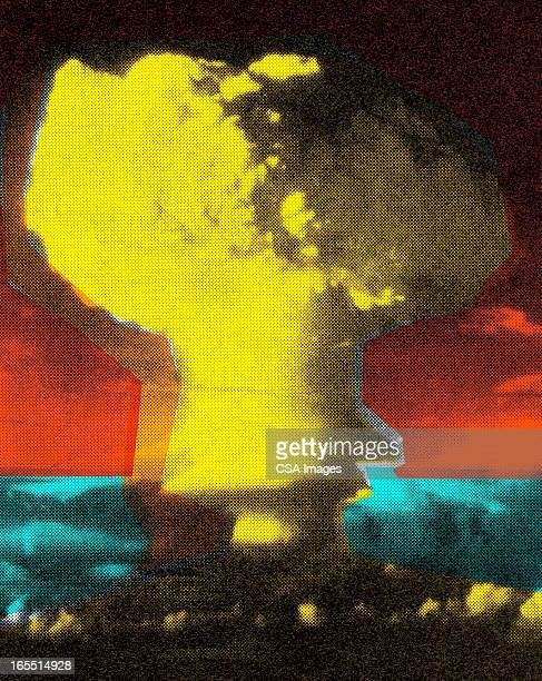 large explosion - radioactive contamination stock illustrations