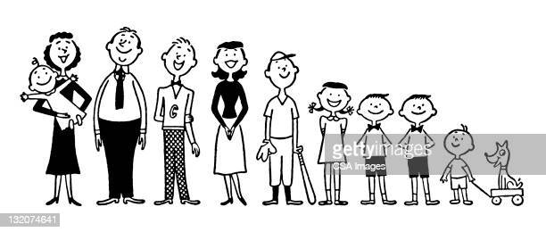 large family - medium group of people stock illustrations