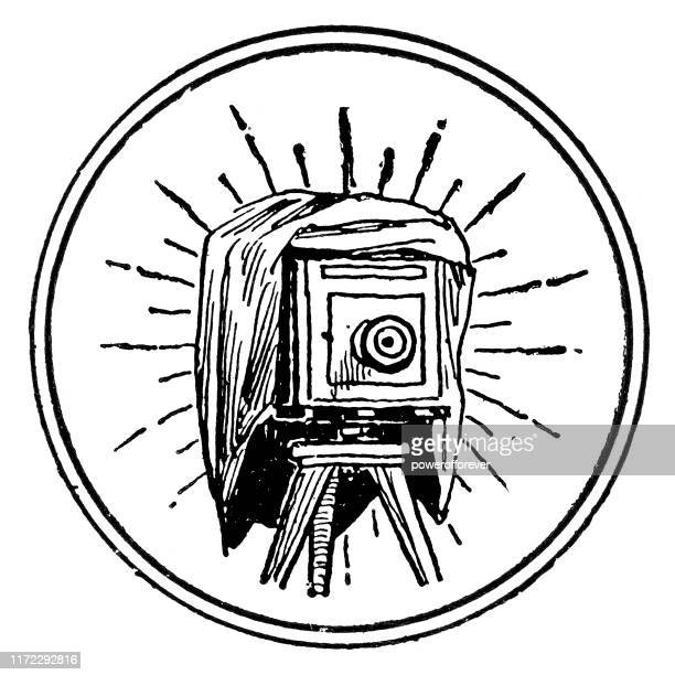 large format bellows camera - 19th century - large format camera stock illustrations, clip art, cartoons, & icons
