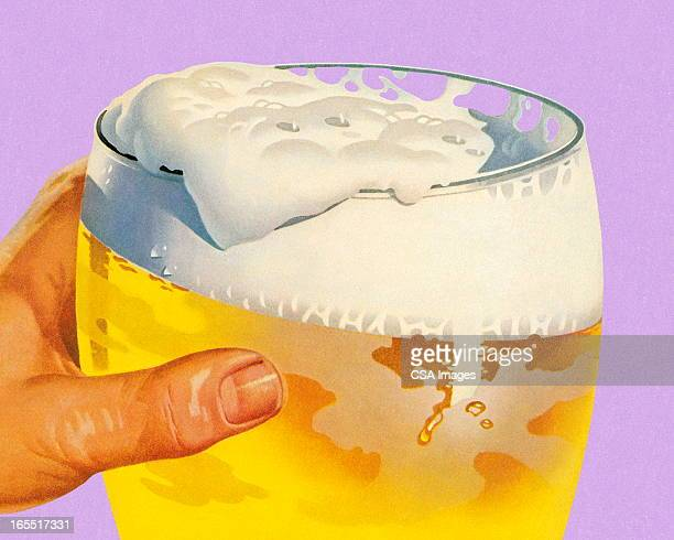 large glass of beer - happy hour stock illustrations, clip art, cartoons, & icons