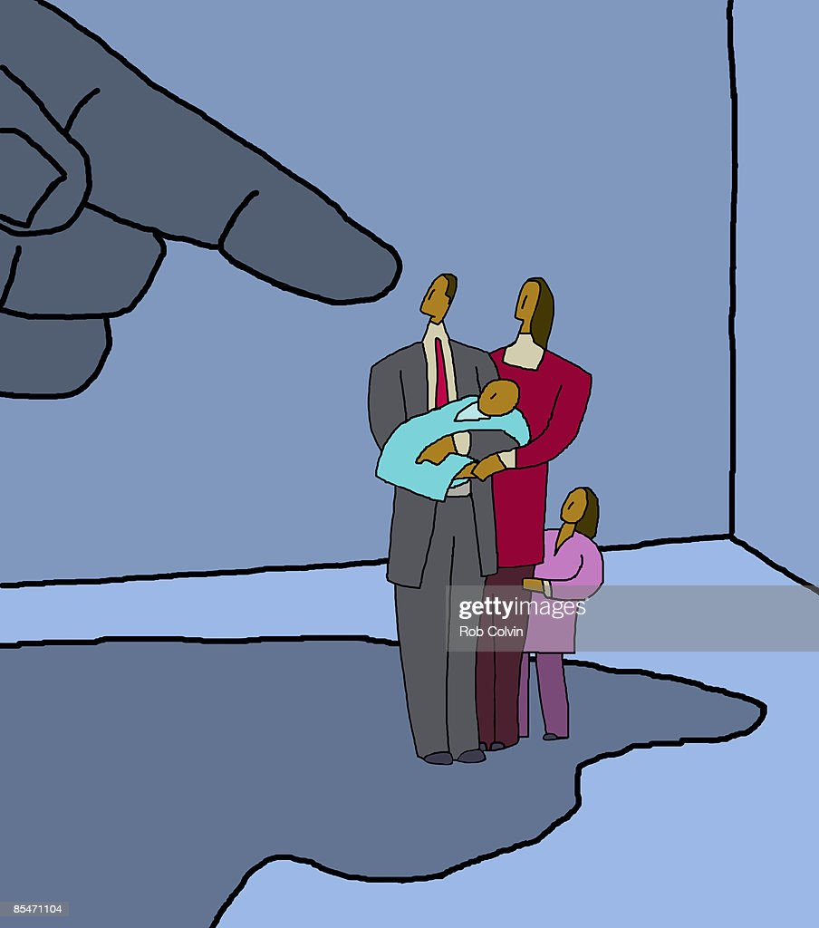 A large hand threatening a family in its shadow : stock illustration