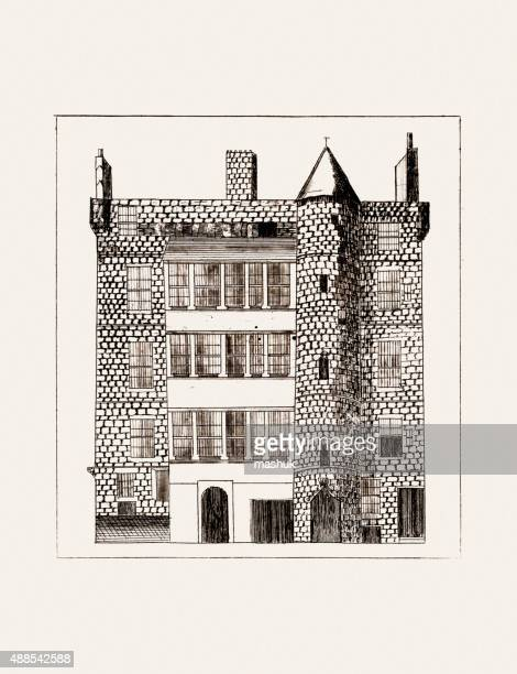 Large house 19 century etching by Walter Geikie