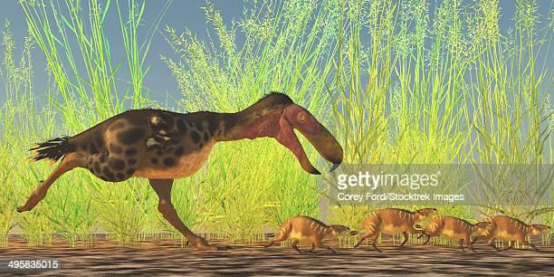 A large Kalenken flightless terror bird hunting smaller Eurohippus from the Miocene epoch.