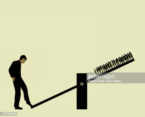 large man with foot on seesaw pushing up a crowd of people on the other end - unfairness stock illustrations