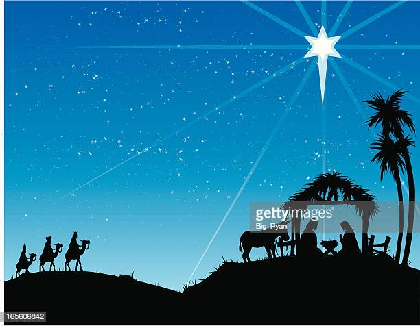 large nativity - three wise men stock illustrations, clip art, cartoons, & icons