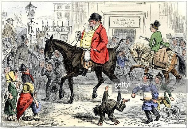 ilustraciones, imágenes clip art, dibujos animados e iconos de stock de amplio rosa recubiertos de huntsman montar a caballo un través de una ciudad - obesidad infantil